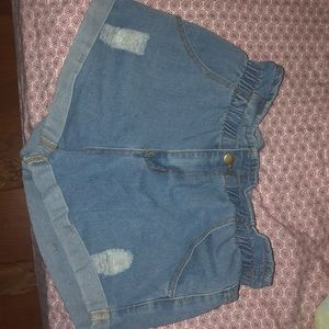 size medium blue elastic jean shorts